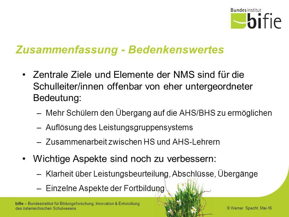 bifie – Bundesinstitut für Bildungsforschung, Innovation & Entwicklung des österreichischen Schulwesens © Werner Specht, Mai-16 Zusammenfassung - Bede