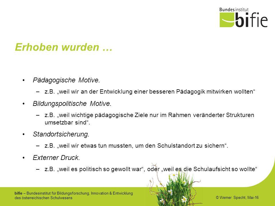 bifie – Bundesinstitut für Bildungsforschung, Innovation & Entwicklung des österreichischen Schulwesens © Werner Specht, Mai-16 Erhoben wurden … Pädagogische Motive.