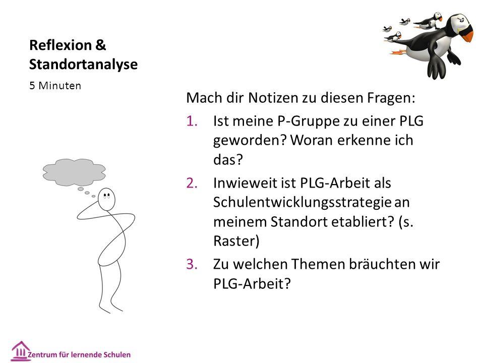 Reflexion & Standortanalyse Mach dir Notizen zu diesen Fragen: 1.Ist meine P-Gruppe zu einer PLG geworden.