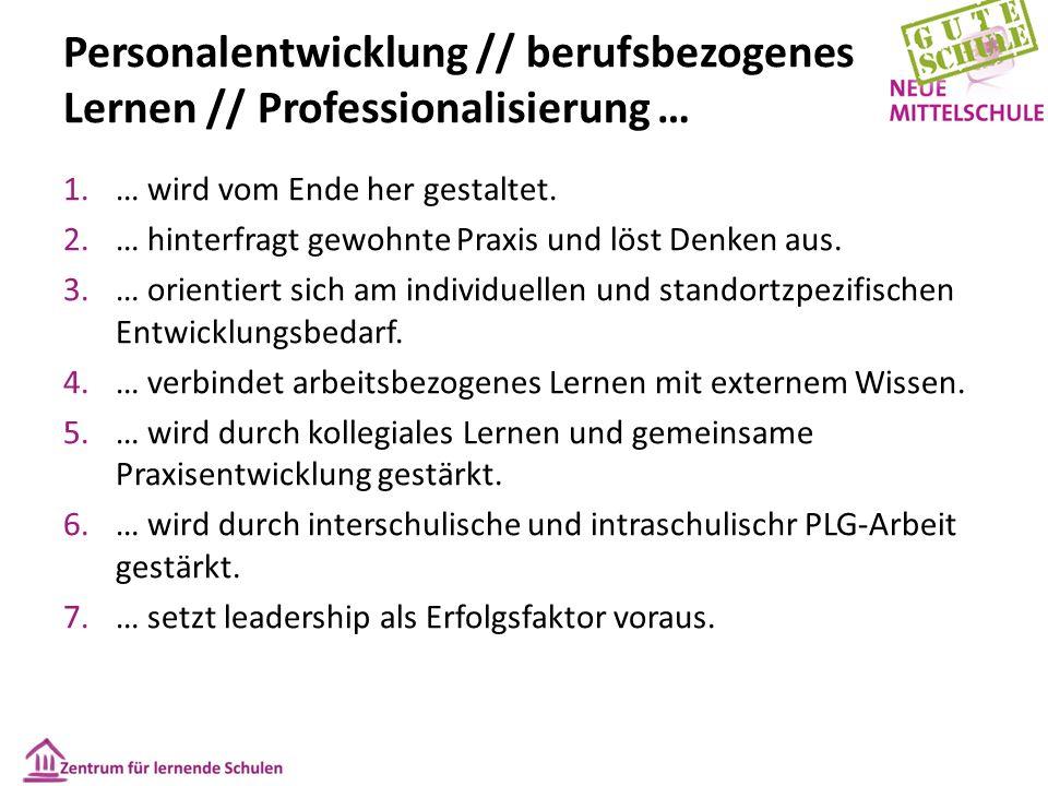 Personalentwicklung // berufsbezogenes Lernen // Professionalisierung … 1.… wird vom Ende her gestaltet.