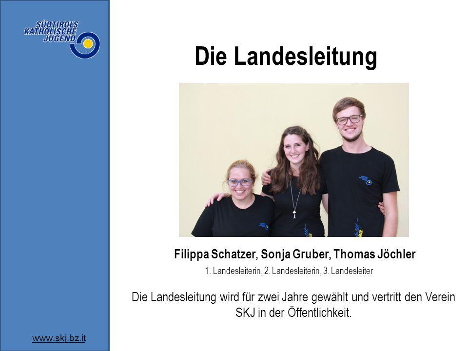 Die Landesleitung Filippa Schatzer, Sonja Gruber, Thomas Jöchler 1.
