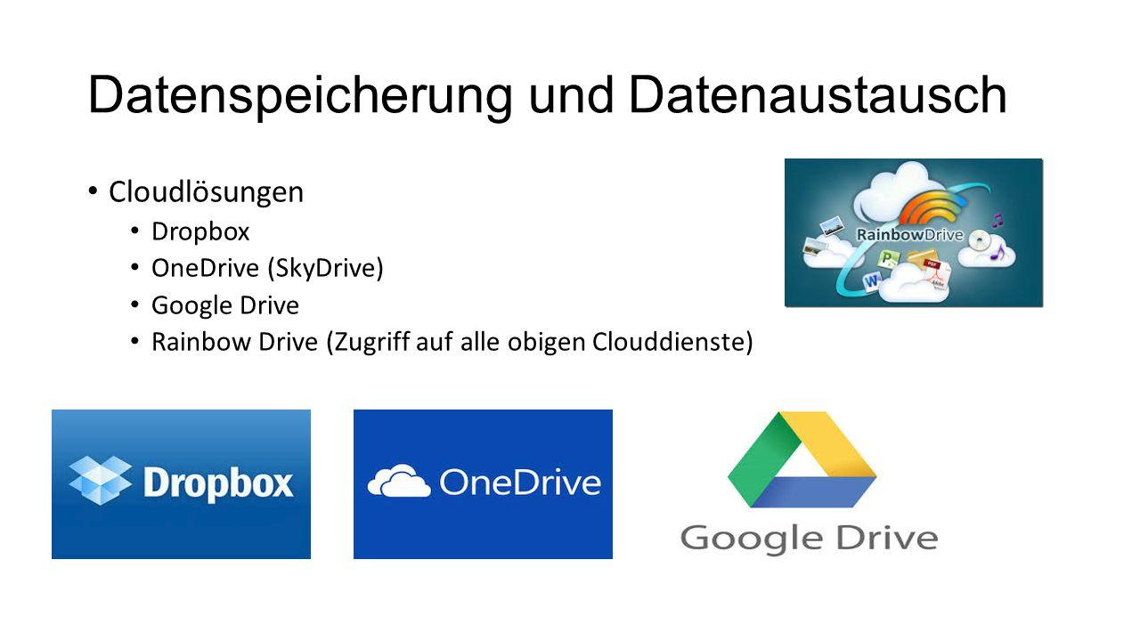 Datenspeicherung und Datenaustausch Cloudlösungen Dropbox OneDrive (SkyDrive) Google Drive Rainbow Drive (Zugriff auf alle obigen Clouddienste)