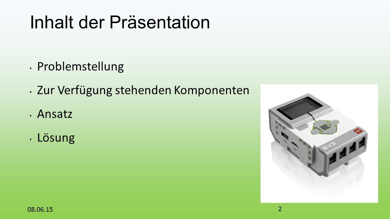 Inhalt der Präsentation Problemstellung Zur Verfügung stehenden Komponenten Ansatz Lösung 08.06.15 2