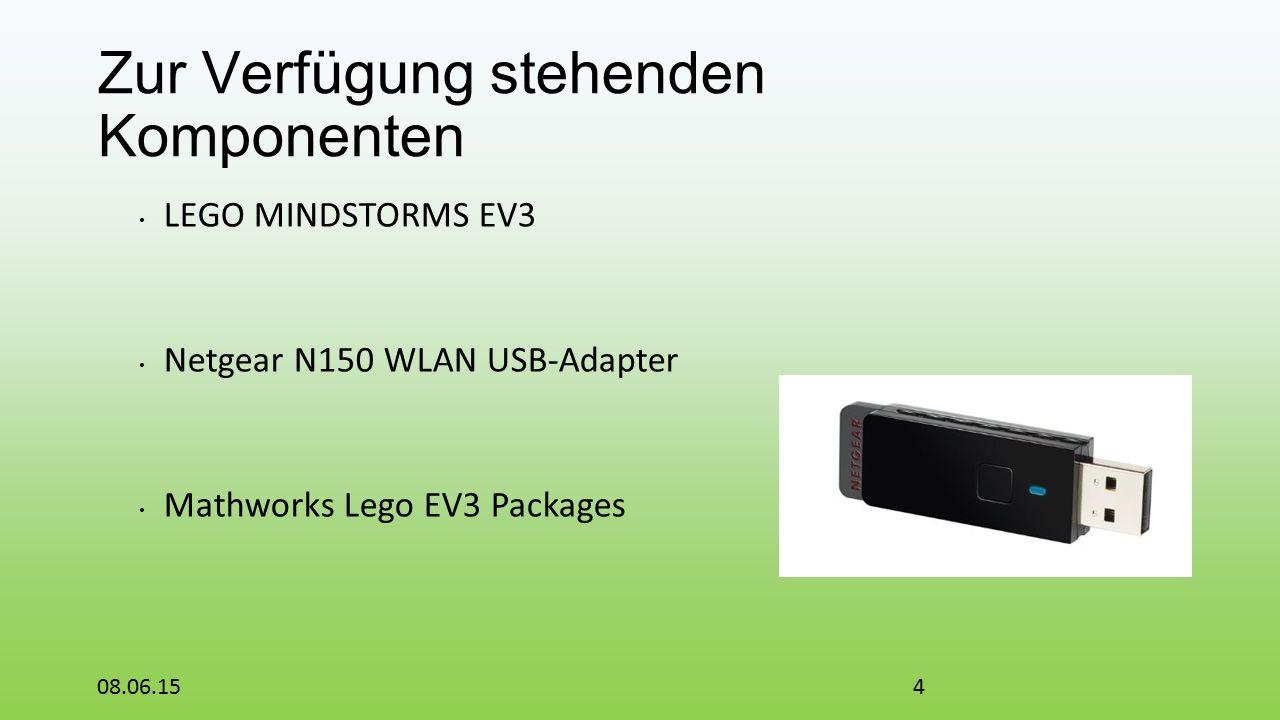 Zur Verfügung stehenden Komponenten LEGO MINDSTORMS EV3 Netgear N150 WLAN USB-Adapter Mathworks Lego EV3 Packages 08.06.154