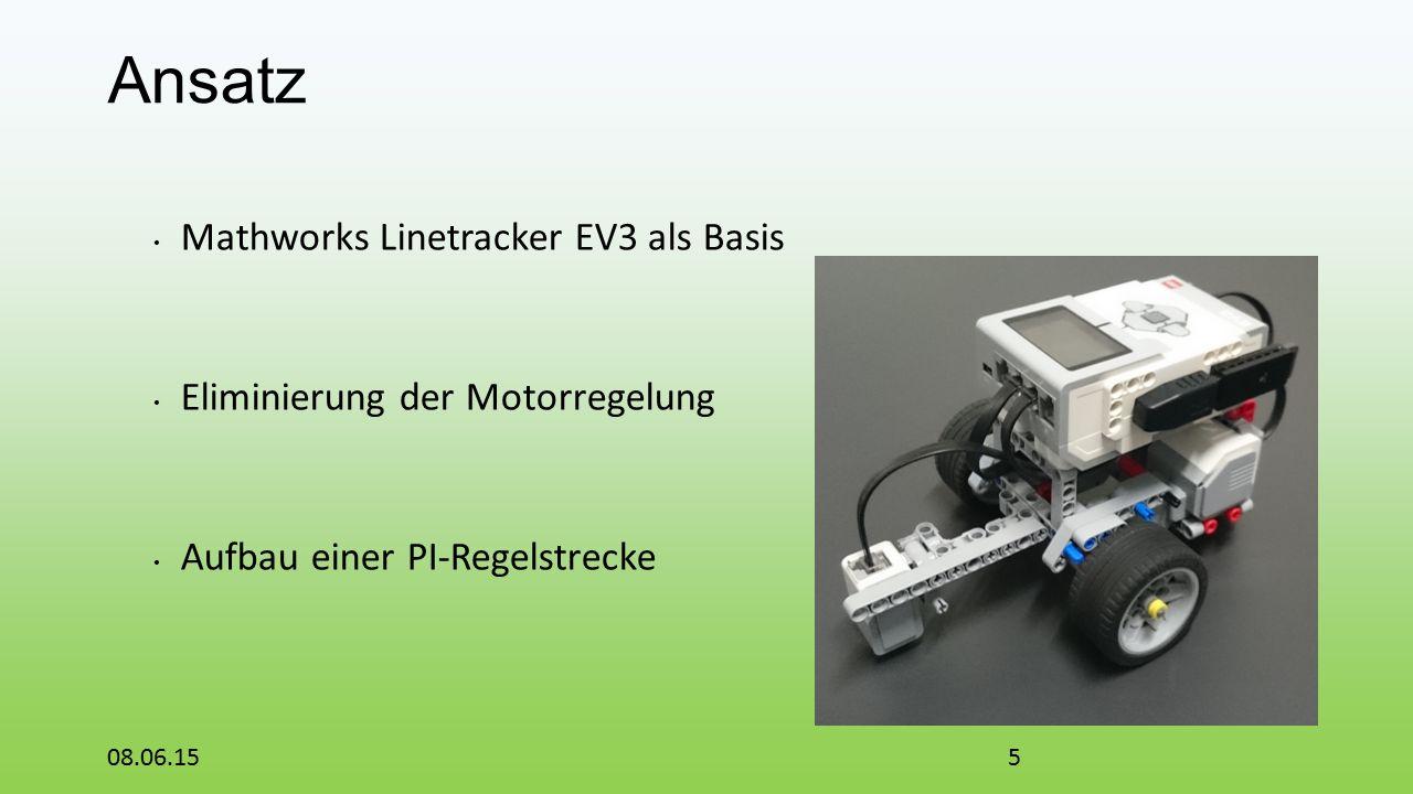 Ansatz Mathworks Linetracker EV3 als Basis Eliminierung der Motorregelung Aufbau einer PI-Regelstrecke 08.06.155