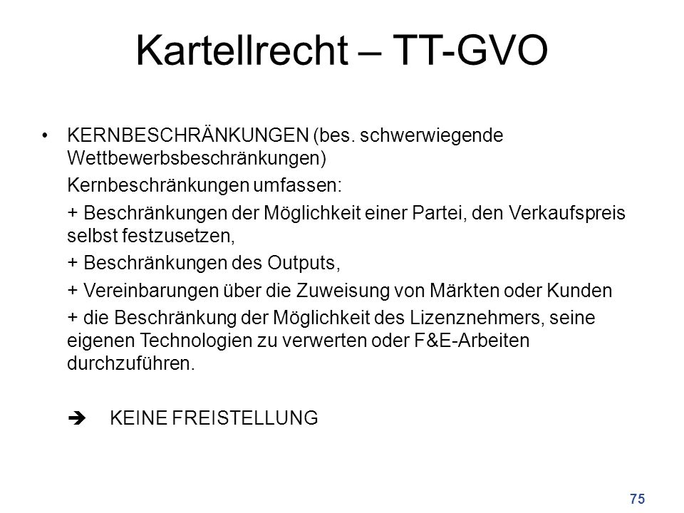 Kartellrecht – TT-GVO KERNBESCHRÄNKUNGEN (bes.