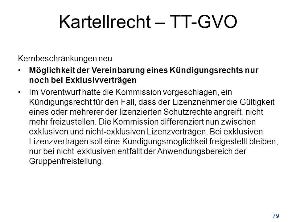 Kartellrecht – TT-GVO Kernbeschränkungen neu Möglichkeit der Vereinbarung eines Kündigungsrechts nur noch bei Exklusivverträgen Im Vorentwurf hatte die Kommission vorgeschlagen, ein Kündigungsrecht für den Fall, dass der Lizenznehmer die Gültigkeit eines oder mehrerer der lizenzierten Schutzrechte angreift, nicht mehr freizustellen.