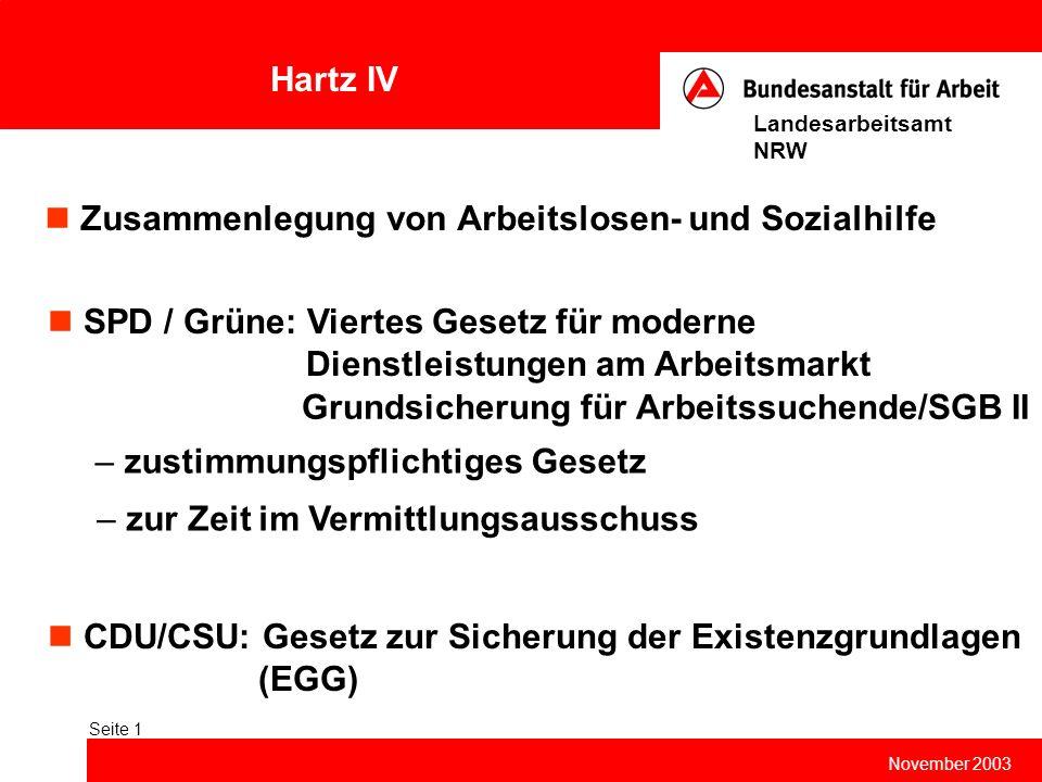 Hartz IV November 2003 Landesarbeitsamt NRW Seite 1 Zusammenlegung von Arbeitslosen- und Sozialhilfe SPD / Grüne: Viertes Gesetz für moderne Dienstlei