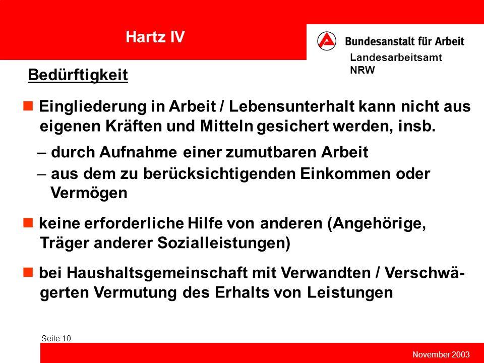 Hartz IV November 2003 Landesarbeitsamt NRW Seite 10 Bedürftigkeit Eingliederung in Arbeit / Lebensunterhalt kann nicht aus eigenen Kräften und Mittel