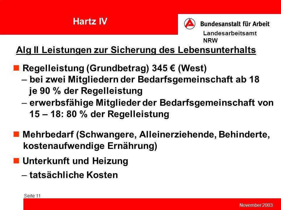 Hartz IV November 2003 Landesarbeitsamt NRW Seite 11 Alg II Leistungen zur Sicherung des Lebensunterhalts Regelleistung (Grundbetrag) 345 € (West) Meh