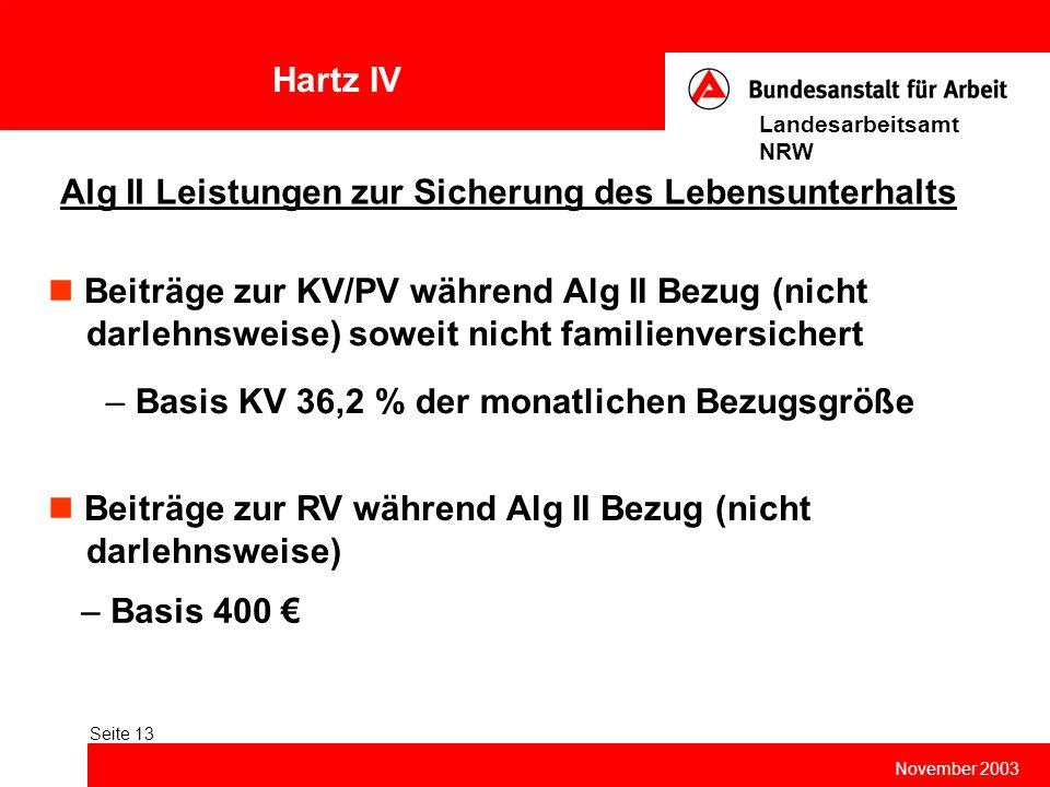 Hartz IV November 2003 Landesarbeitsamt NRW Seite 13 Alg II Leistungen zur Sicherung des Lebensunterhalts – Basis 400 € Beiträge zur KV/PV während Alg