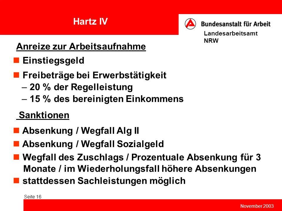 Hartz IV November 2003 Landesarbeitsamt NRW Seite 16 Anreize zur Arbeitsaufnahme Einstiegsgeld Sanktionen Freibeträge bei Erwerbstätigkeit – 20 % der