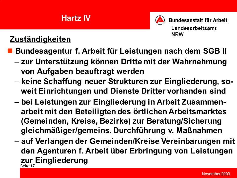 Hartz IV November 2003 Landesarbeitsamt NRW Seite 17 Zuständigkeiten Bundesagentur f. Arbeit für Leistungen nach dem SGB II – zur Unterstützung können