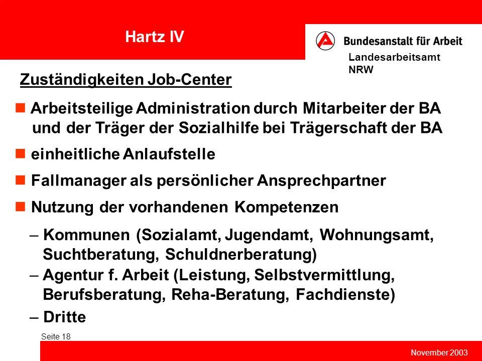 Hartz IV November 2003 Landesarbeitsamt NRW Seite 18 Zuständigkeiten Job-Center Fallmanager als persönlicher Ansprechpartner – Kommunen (Sozialamt, Ju