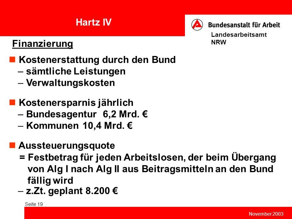 Hartz IV November 2003 Landesarbeitsamt NRW Seite 19 Finanzierung Kostenerstattung durch den Bund – sämtliche Leistungen – Verwaltungskosten Aussteuer