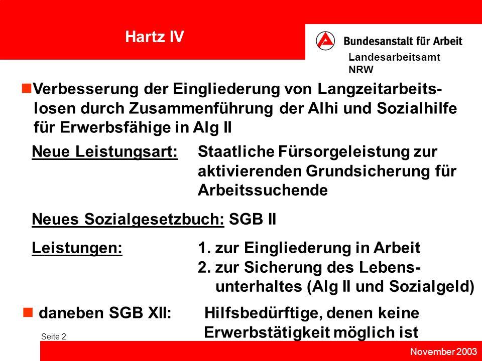 Hartz IV November 2003 Landesarbeitsamt NRW Seite 2 November 2003 Verbesserung der Eingliederung von Langzeitarbeits- losen durch Zusammenführung der