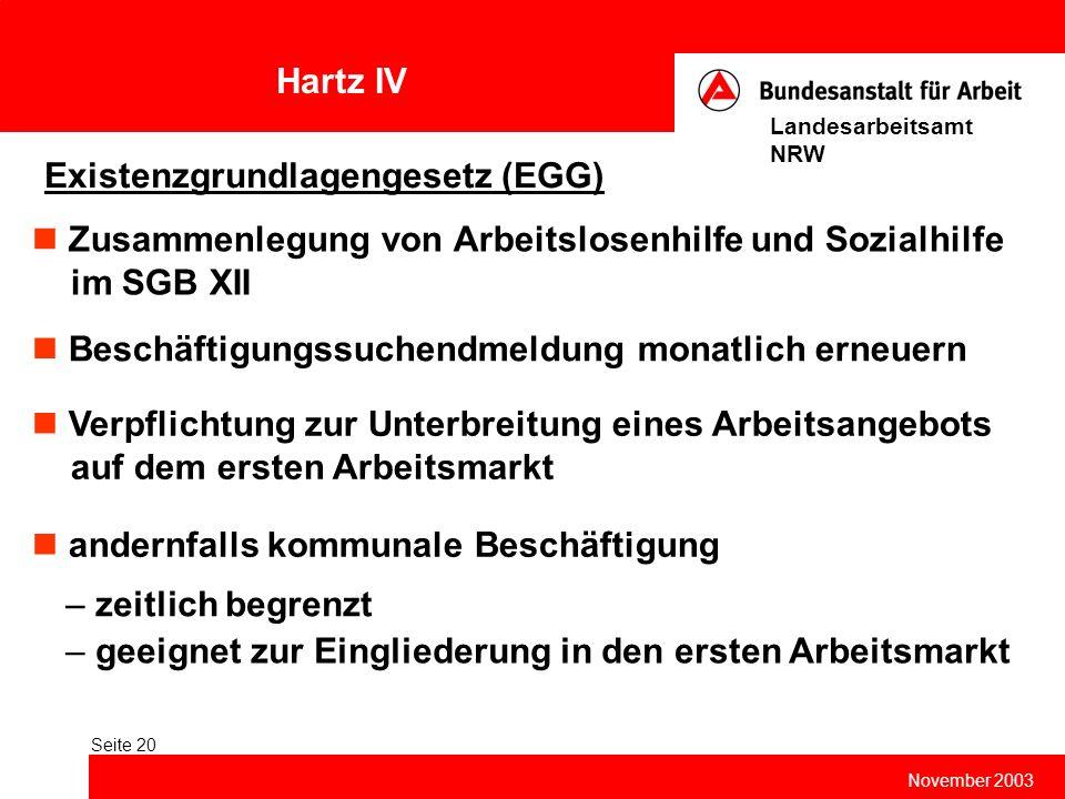 Hartz IV November 2003 Landesarbeitsamt NRW Seite 20 Existenzgrundlagengesetz (EGG) Zusammenlegung von Arbeitslosenhilfe und Sozialhilfe im SGB XII Be