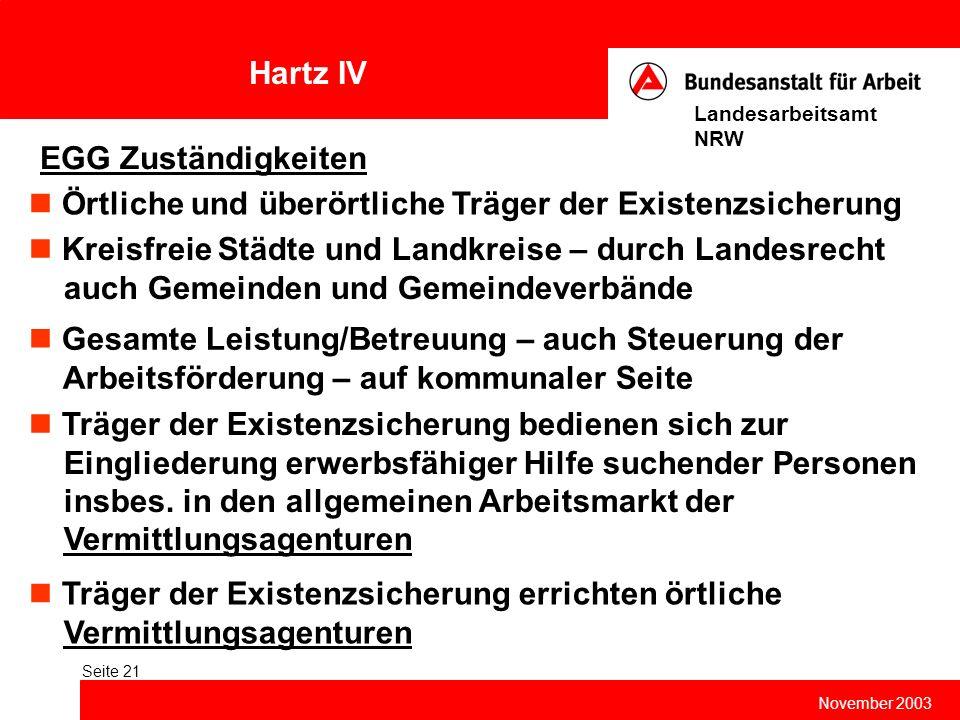 Hartz IV November 2003 Landesarbeitsamt NRW Seite 21 EGG Zuständigkeiten Gesamte Leistung/Betreuung – auch Steuerung der Arbeitsförderung – auf kommun