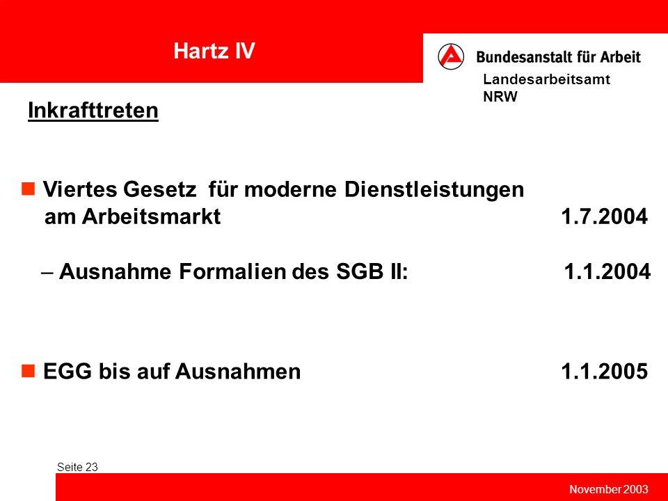 Hartz IV November 2003 Landesarbeitsamt NRW Seite 23 Inkrafttreten EGG bis auf Ausnahmen 1.1.2005 Viertes Gesetz für moderne Dienstleistungen am Arbei