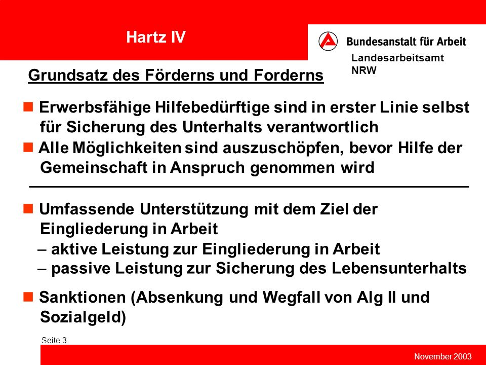 Hartz IV November 2003 Landesarbeitsamt NRW Seite 3 Grundsatz des Förderns und Forderns Erwerbsfähige Hilfebedürftige sind in erster Linie selbst für
