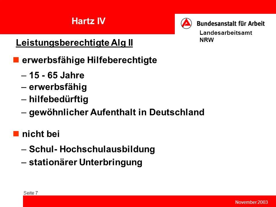 Hartz IV November 2003 Landesarbeitsamt NRW Seite 7 Leistungsberechtigte Alg II erwerbsfähige Hilfeberechtigte – 15 - 65 Jahre – erwerbsfähig – hilfeb