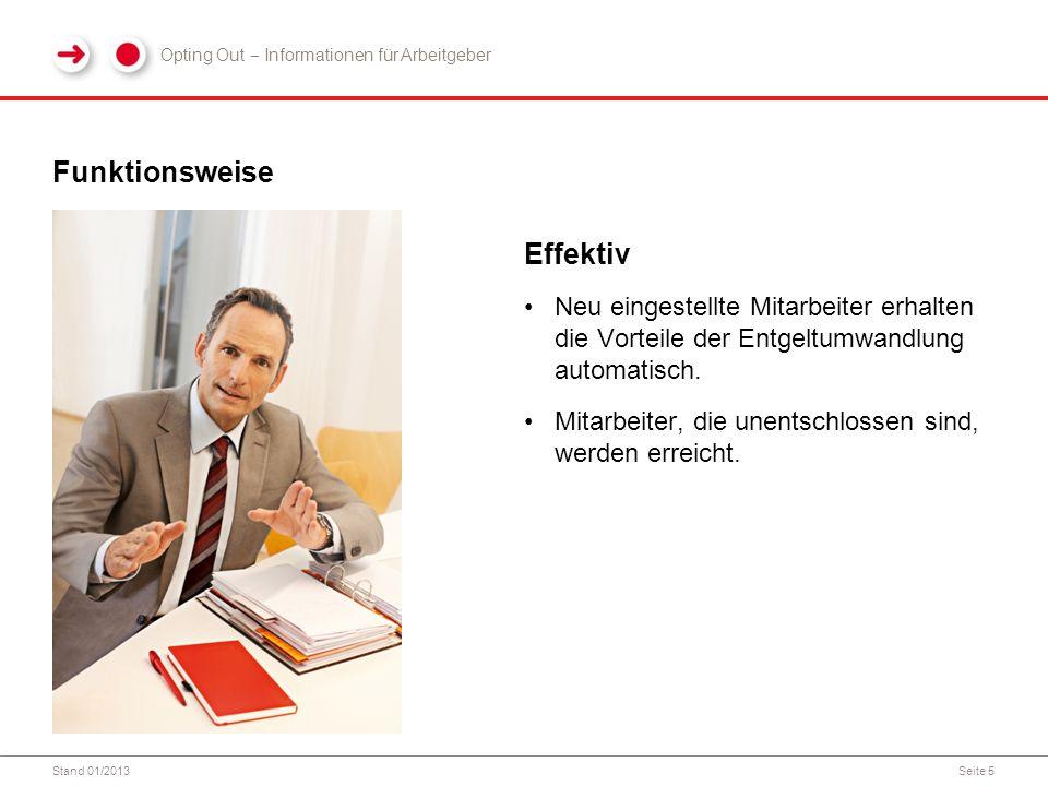 Stand 01/2013Seite 5 Funktionsweise Effektiv Neu eingestellte Mitarbeiter erhalten die Vorteile der Entgeltumwandlung automatisch.
