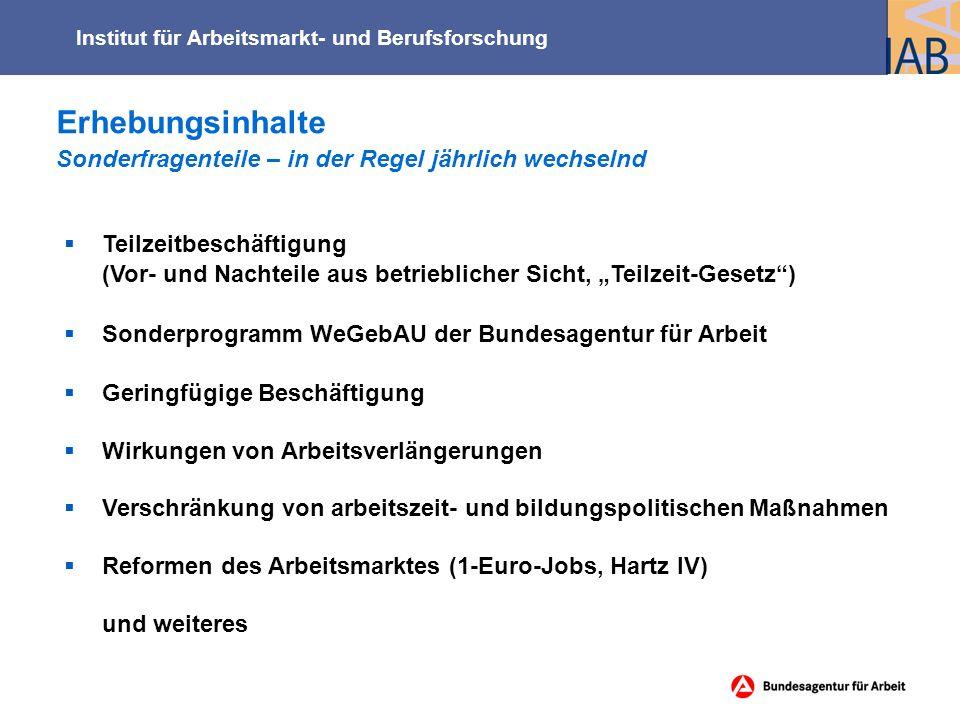 """Erhebungsinhalte Sonderfragenteile – in der Regel jährlich wechselnd Institut für Arbeitsmarkt- und Berufsforschung  Teilzeitbeschäftigung (Vor- und Nachteile aus betrieblicher Sicht, """"Teilzeit-Gesetz )  Sonderprogramm WeGebAU der Bundesagentur für Arbeit  Geringfügige Beschäftigung  Wirkungen von Arbeitsverlängerungen  Verschränkung von arbeitszeit- und bildungspolitischen Maßnahmen  Reformen des Arbeitsmarktes (1-Euro-Jobs, Hartz IV) und weiteres"""