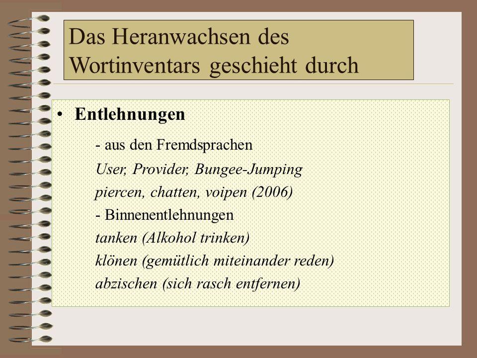 Das Heranwachsen des Wortinventars geschieht durch Entlehnungen - aus den Fremdsprachen User, Provider, Bungee-Jumping piercen, chatten, voipen (2006) - Binnenentlehnungen tanken (Alkohol trinken) klönen (gemütlich miteinander reden) abzischen (sich rasch entfernen)