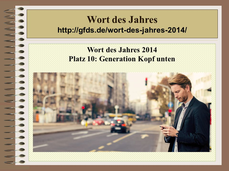 Wort des Jahres 2014 Platz 10: Generation Kopf unten Wort des Jahres http://gfds.de/wort-des-jahres-2014/