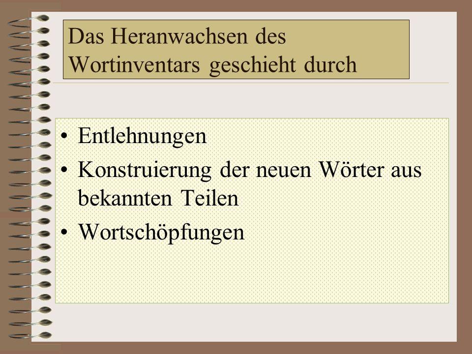 Das Heranwachsen des Wortinventars geschieht durch Entlehnungen - aus den Fremdsprachen User, Provider, Bungee-Jumping piercen, chatten, voipen (2006)