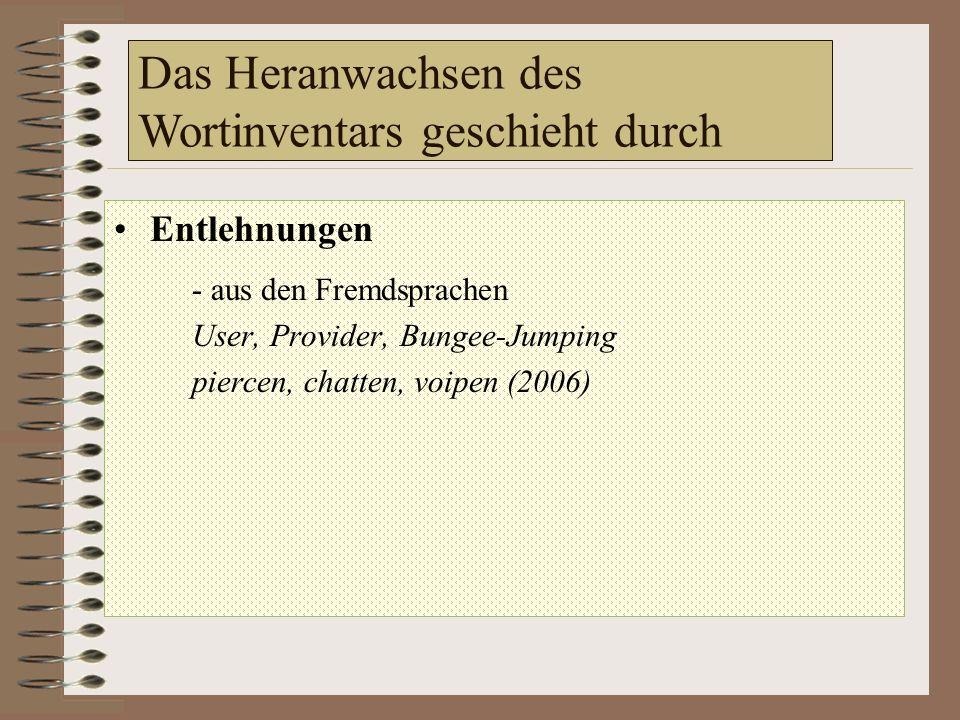 Das Heranwachsen des Wortinventars geschieht durch Entlehnungen - aus den Fremdsprachen User, Provider, Bungee-Jumping piercen, chatten, voipen (2006) - Binnenentlehnungen tanken klönen abzischen