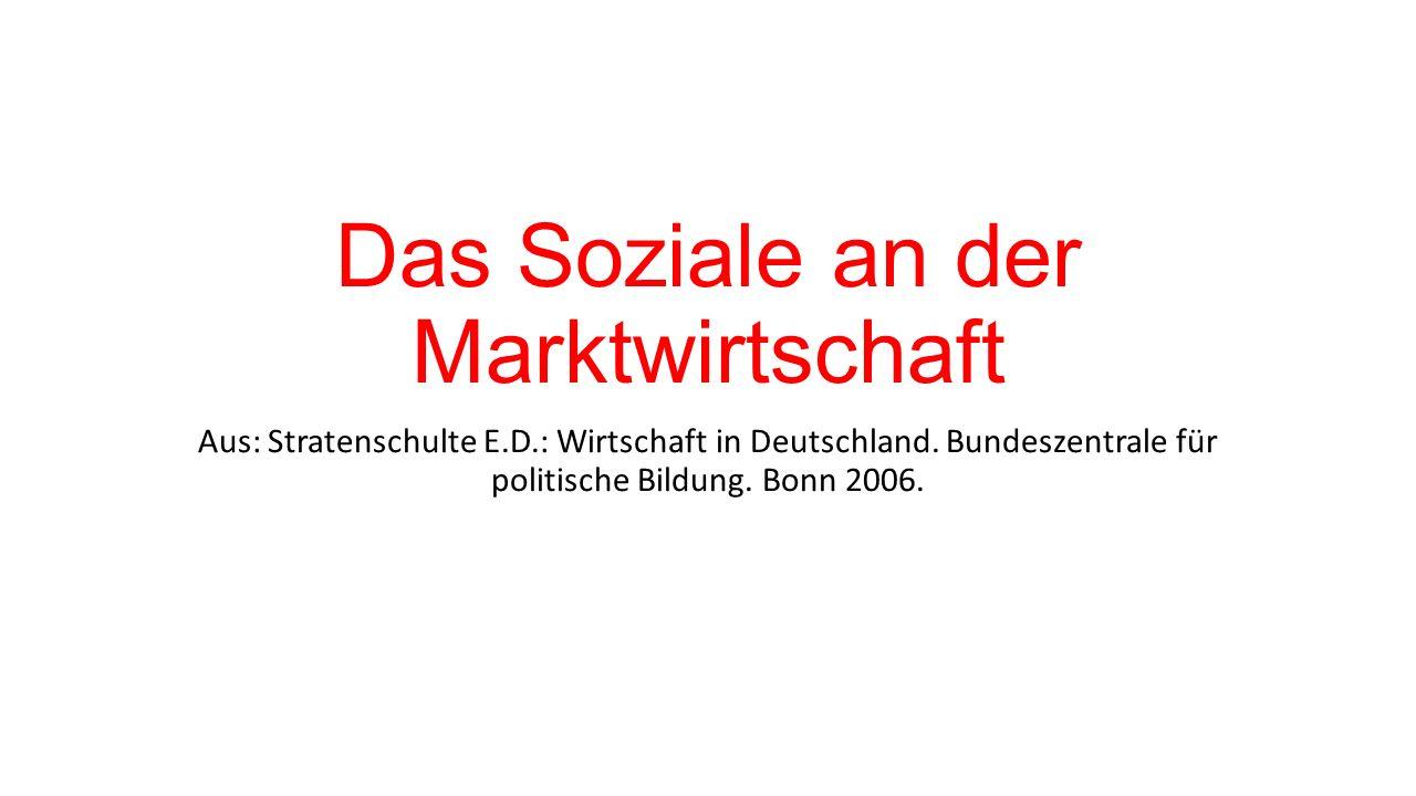 Das Soziale an der Marktwirtschaft Aus: Stratenschulte E.D.: Wirtschaft in Deutschland.