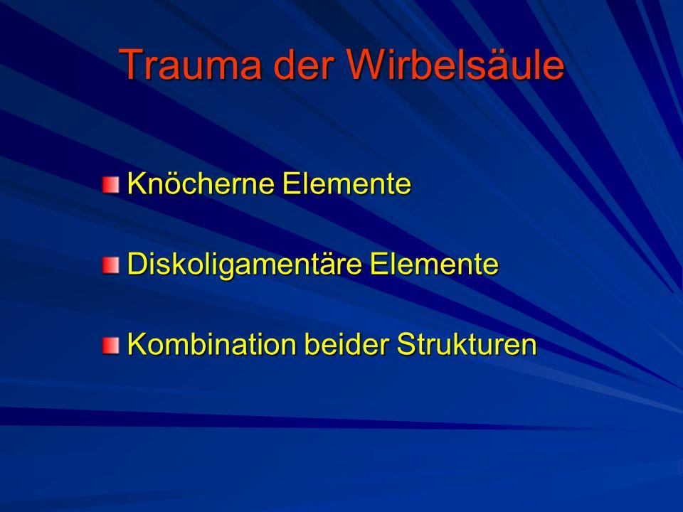 Trauma der Wirbelsäule Knöcherne Elemente Diskoligamentäre Elemente Kombination beider Strukturen