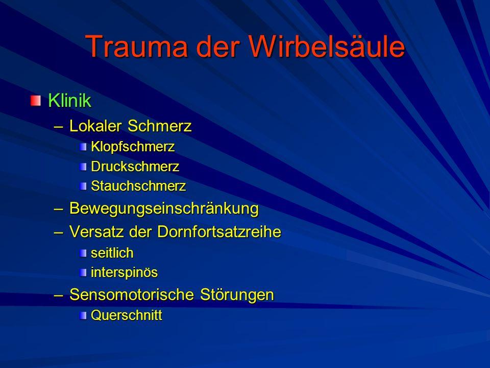 Trauma der Wirbelsäule Klinik –Lokaler Schmerz KlopfschmerzDruckschmerzStauchschmerz –Bewegungseinschränkung –Versatz der Dornfortsatzreihe seitlichin