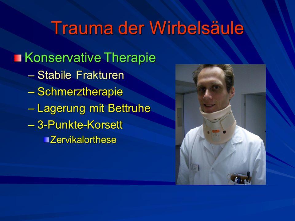 Trauma der Wirbelsäule Konservative Therapie –Stabile Frakturen –Schmerztherapie –Lagerung mit Bettruhe –3-Punkte-Korsett Zervikalorthese