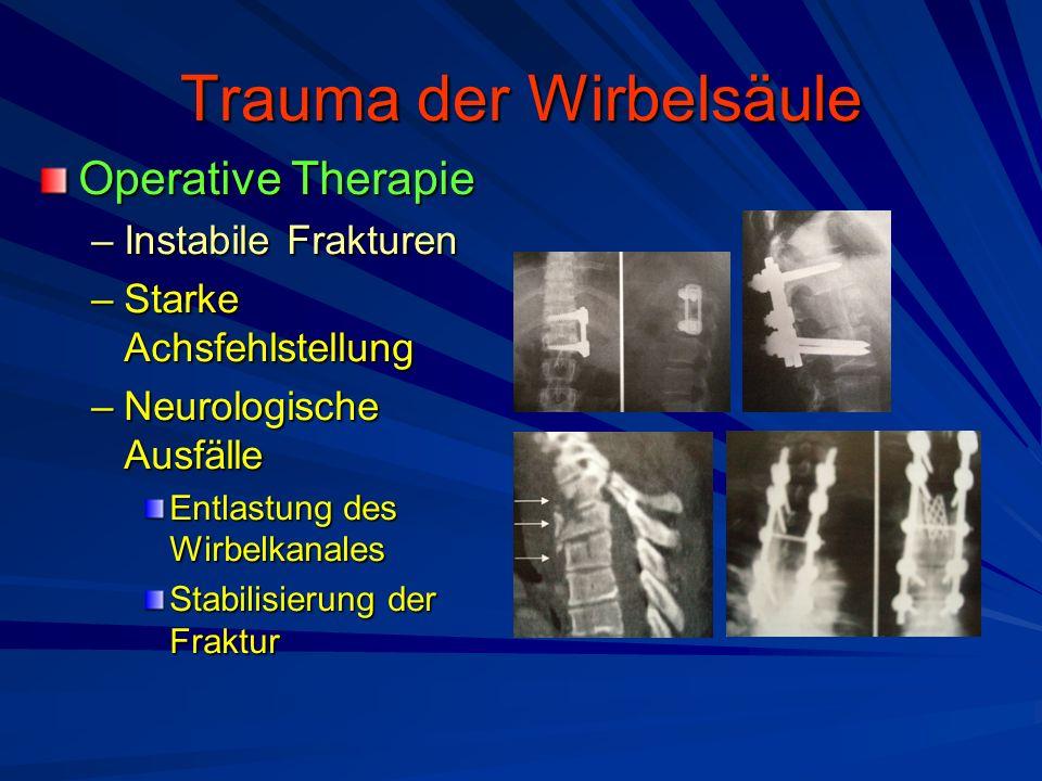 Trauma der Wirbelsäule Operative Therapie –Instabile Frakturen –Starke Achsfehlstellung –Neurologische Ausfälle Entlastung des Wirbelkanales Stabilisi
