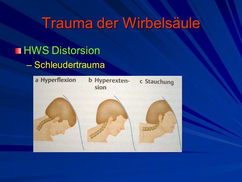 Trauma der Wirbelsäule HWS Distorsion –Schleudertrauma