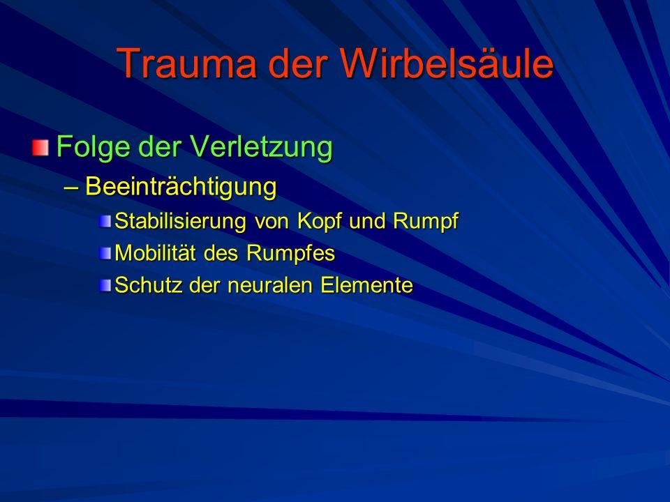 Trauma der Wirbelsäule Folge der Verletzung –Beeinträchtigung Stabilisierung von Kopf und Rumpf Mobilität des Rumpfes Schutz der neuralen Elemente