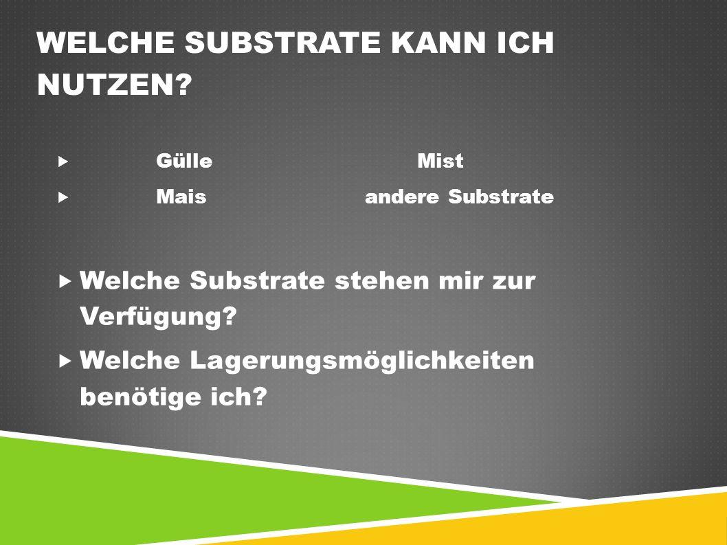 WELCHE SUBSTRATE KANN ICH NUTZEN?  GülleMist  Maisandere Substrate  Welche Substrate stehen mir zur Verfügung?  Welche Lagerungsmöglichkeiten benö
