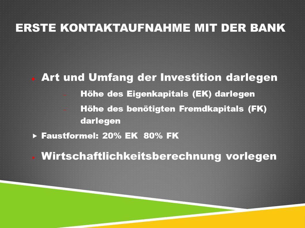 ERSTE KONTAKTAUFNAHME MIT DER BANK Art und Umfang der Investition darlegen  Höhe des Eigenkapitals (EK) darlegen  Höhe des benötigten Fremdkapitals
