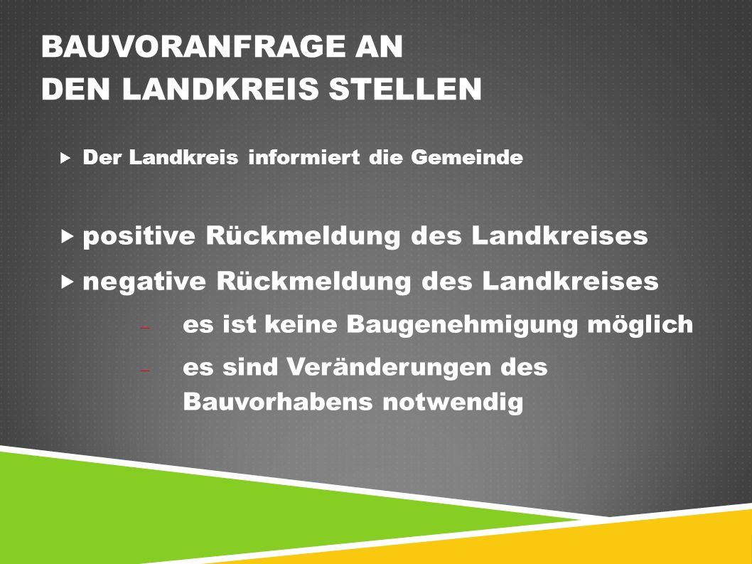 BAUVORANFRAGE AN DEN LANDKREIS STELLEN  Der Landkreis informiert die Gemeinde  positive Rückmeldung des Landkreises  negative Rückmeldung des Landkreises  es ist keine Baugenehmigung möglich  es sind Veränderungen des Bauvorhabens notwendig
