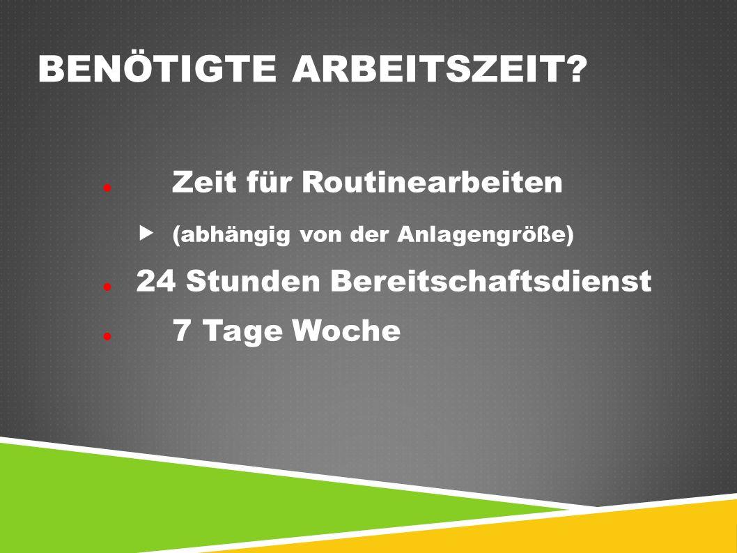 BENÖTIGTE ARBEITSZEIT? Zeit für Routinearbeiten  (abhängig von der Anlagengröße) 24 Stunden Bereitschaftsdienst 7 Tage Woche