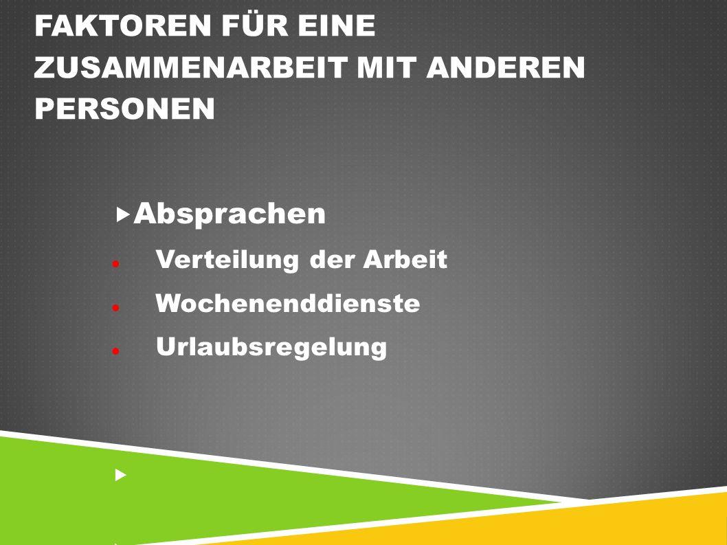 FAKTOREN FÜR EINE ZUSAMMENARBEIT MIT ANDEREN PERSONEN  Absprachen Verteilung der Arbeit Wochenenddienste Urlaubsregelung 