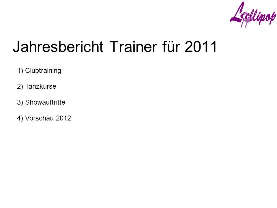 Jahresbericht Trainer für 2011 1) Clubtraining 3) Showauftritte 2) Tanzkurse 4) Vorschau 2012