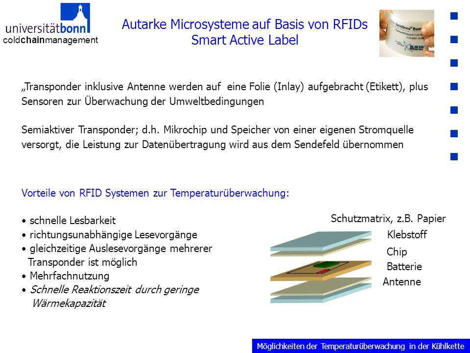 """coldchainmanagement Autarke Microsysteme auf Basis von RFIDs Smart Active Label """"Transponder inklusive Antenne werden auf eine Folie (Inlay) aufgebracht (Etikett), plus Sensoren zur Überwachung der Umweltbedingungen Semiaktiver Transponder; d.h."""