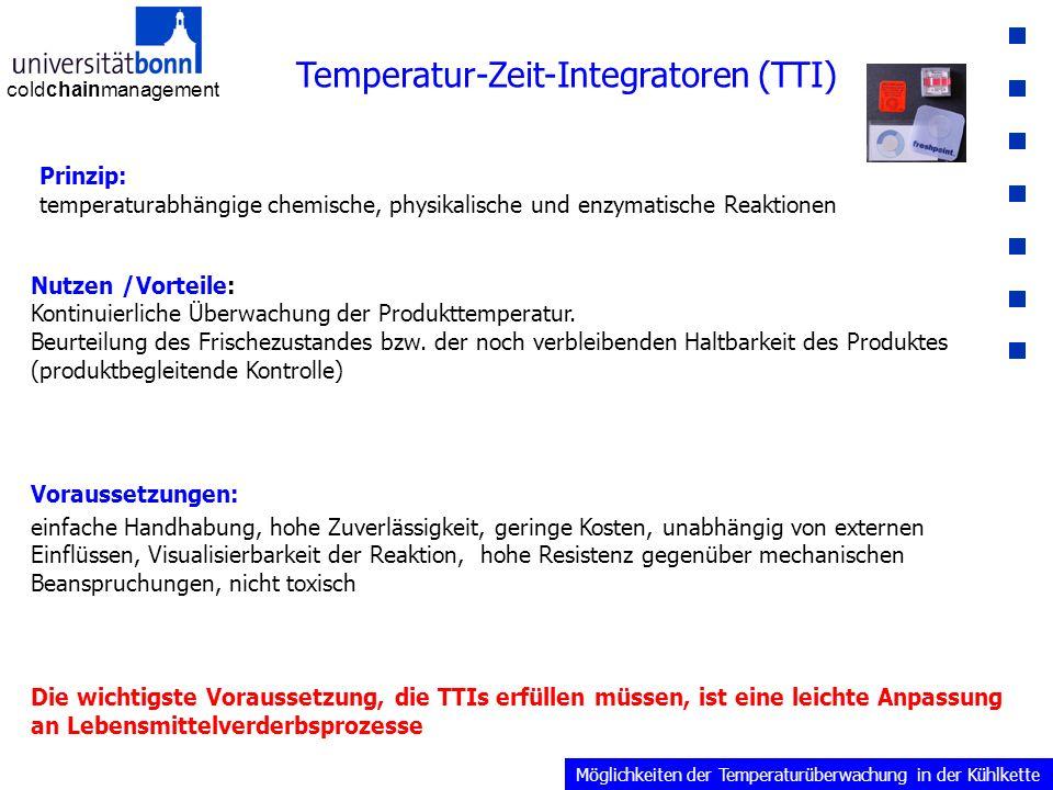coldchainmanagement Temperatur-Zeit-Integratoren (TTI) Prinzip: temperaturabhängige chemische, physikalische und enzymatische Reaktionen Nutzen /Vorteile: Kontinuierliche Überwachung der Produkttemperatur.
