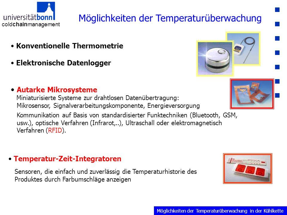 coldchainmanagement Möglichkeiten der Temperaturüberwachung Konventionelle Thermometrie Elektronische Datenlogger Temperatur-Zeit-Integratoren Sensoren, die einfach und zuverlässig die Temperaturhistorie des Produktes durch Farbumschläge anzeigen Autarke Mikrosysteme Miniaturisierte Systeme zur drahtlosen Datenübertragung: Mikrosensor, Signalverarbeitungskomponente, Energieversorgung Kommunikation auf Basis von standardisierter Funktechniken (Bluetooth, GSM, usw.), optische Verfahren (Infrarot,..), Ultraschall oder elektromagnetisch Verfahren (RFID).
