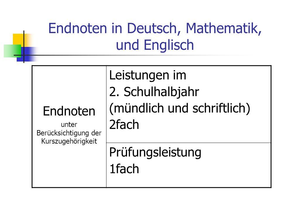 Endnoten in Deutsch, Mathematik, und Englisch Endnoten unter Berücksichtigung der Kurszugehörigkeit Leistungen im 2. Schulhalbjahr (mündlich und schri