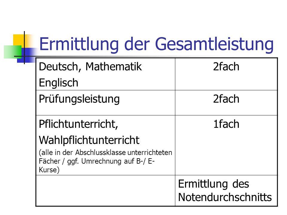Ermittlung der Gesamtleistung Deutsch, Mathematik Englisch 2fach Prüfungsleistung2fach Pflichtunterricht, Wahlpflichtunterricht (alle in der Abschluss