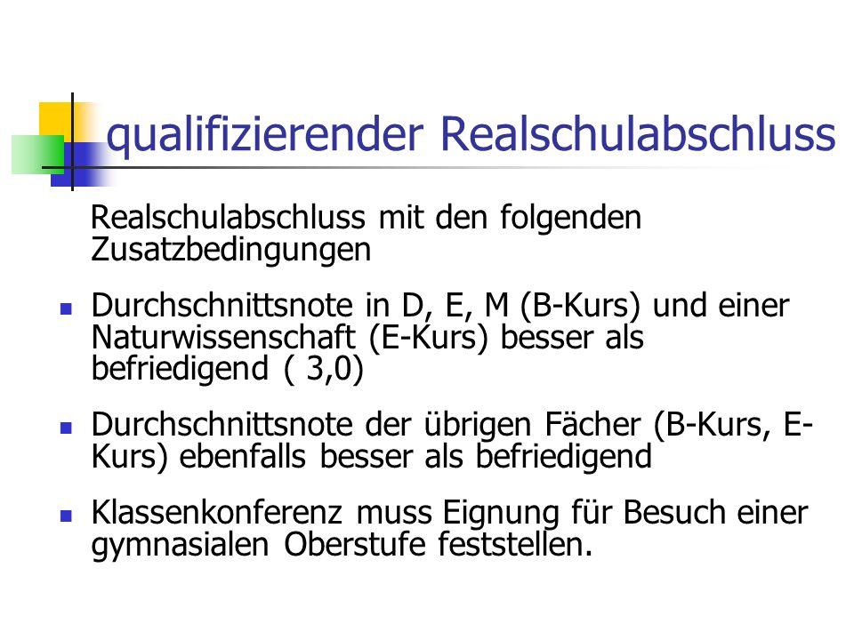 qualifizierender Realschulabschluss Realschulabschluss mit den folgenden Zusatzbedingungen Durchschnittsnote in D, E, M (B-Kurs) und einer Naturwissen